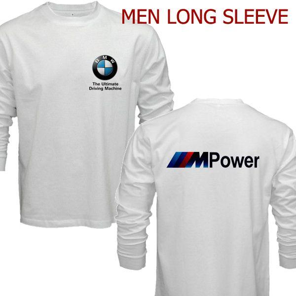 bmw m power logo t shirt men long sleeve tshirt white. Black Bedroom Furniture Sets. Home Design Ideas