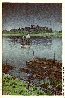 hanga gallery . . . torii gallery: Spring Rain at Arakawa River by Kawase Hasui,   1932