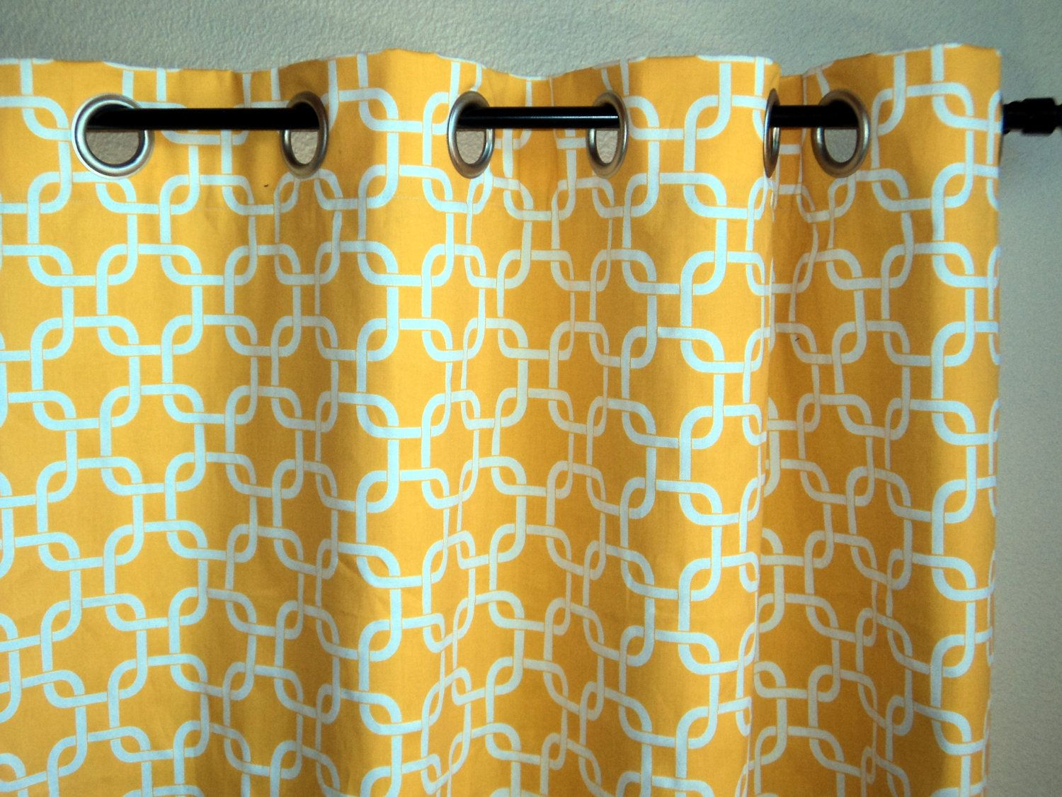 Grommet Top Drapes Corn Yellow Window Curtains Geometric Pattern Metal 17000