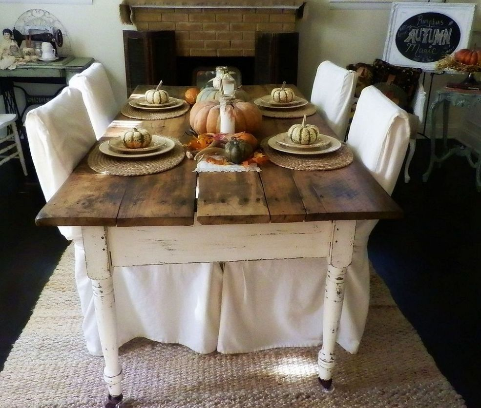 10 Yard Sale Find Antique Farm Table And Fall Tablescape