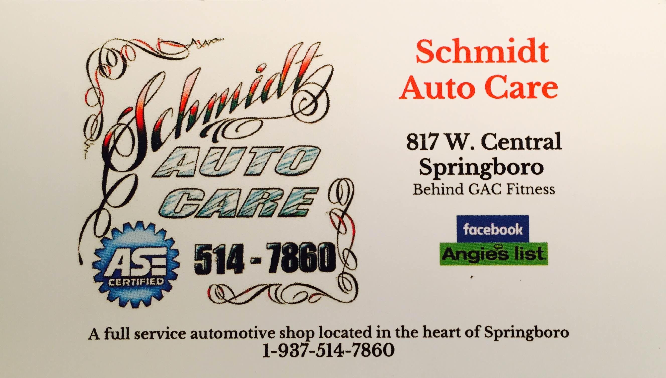Ase Certified Car Shop Schmidt Auto Care Providing Honest And