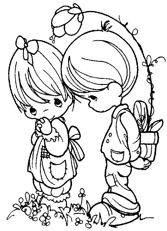 Precious Moments Girl and Boy Coloring Page | Arts & Crafts and DIY ...