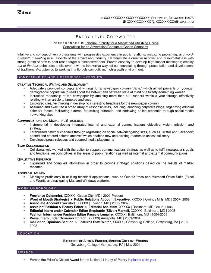 Entry-Level Copywriter Resume Sample - After copywriting - library specialist sample resume