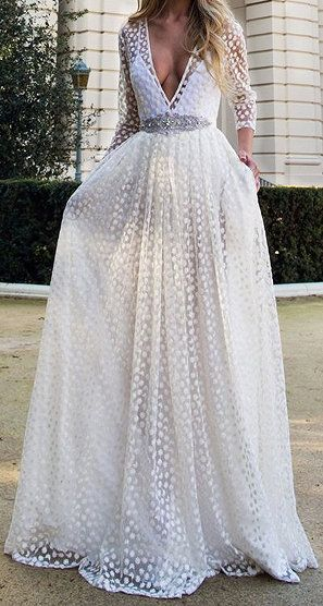 White Plunge Neck Sheer Embroidery 3/4 Sleeve Prom Dress   cutee ...