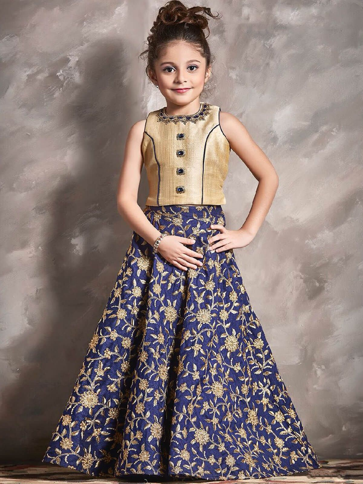 Genial cream silk party wear kids gown mydesiwear onlineshopping