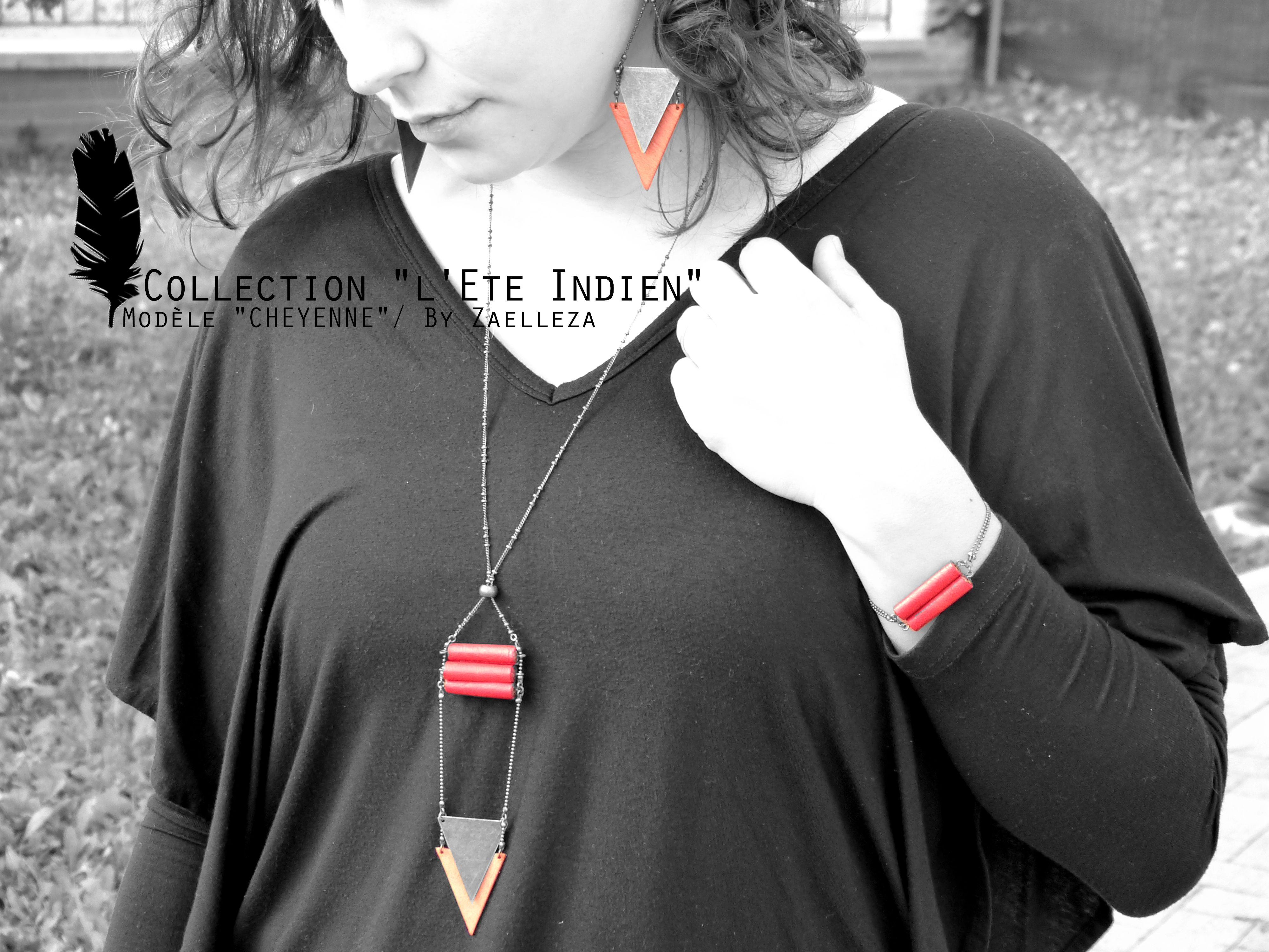 Collection HIVER 2014-2015 / L'Eté Indien de ZAELLEZA / Boucles d'oreille et Sautoir CHEYENNE #cuir #eteindien #zaelleza
