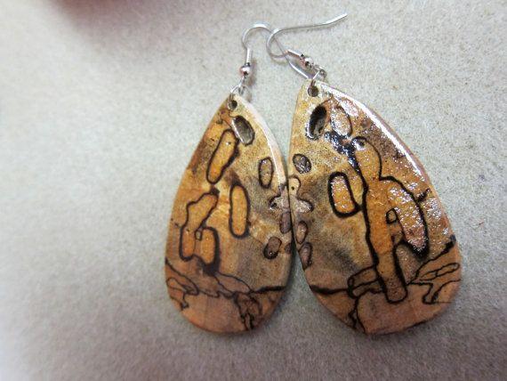Natural Beauty Beech Wood Large Earrings by ExoticWoodJewelryAnd