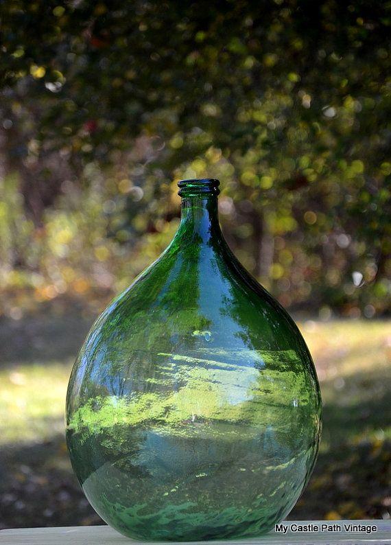 Huge Green Glass Demijohn Carboy Jug By Mycastlepathvintage Garrafas De Vidro Antigas Garrafas De Vidro Velhas Decoracao Com Vidros