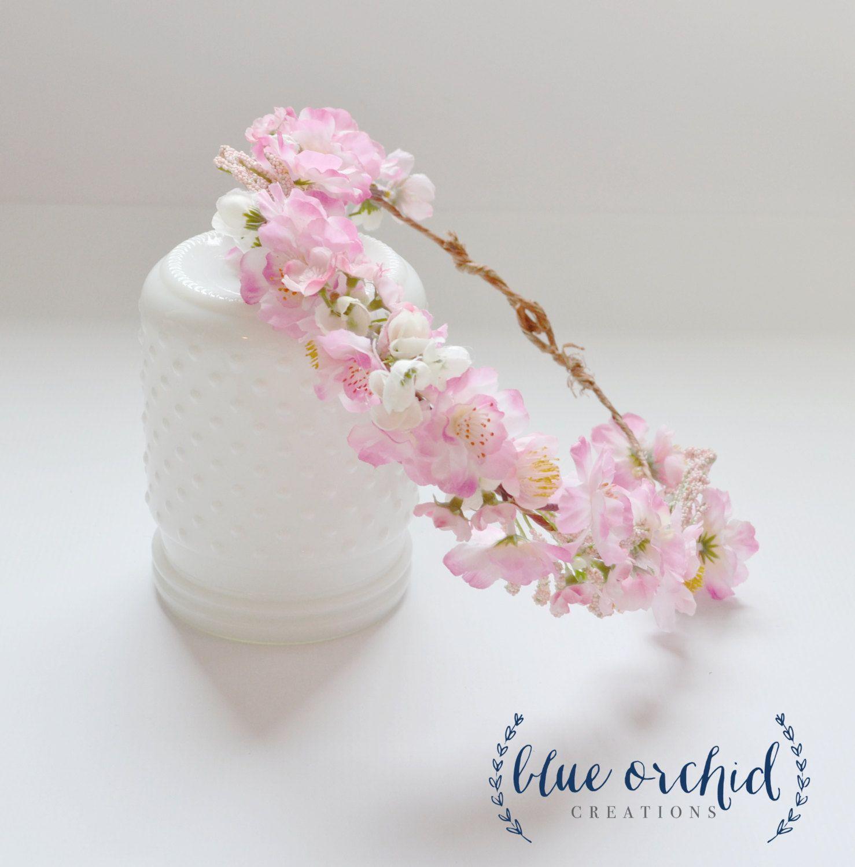 Pink Cherry Blossom Crown Floral Crown Floral Headpiece Flower Crown Flower Headpiece Pink Flower C Silk Flower Crown Flower Girl Crown Pink Flower Crown