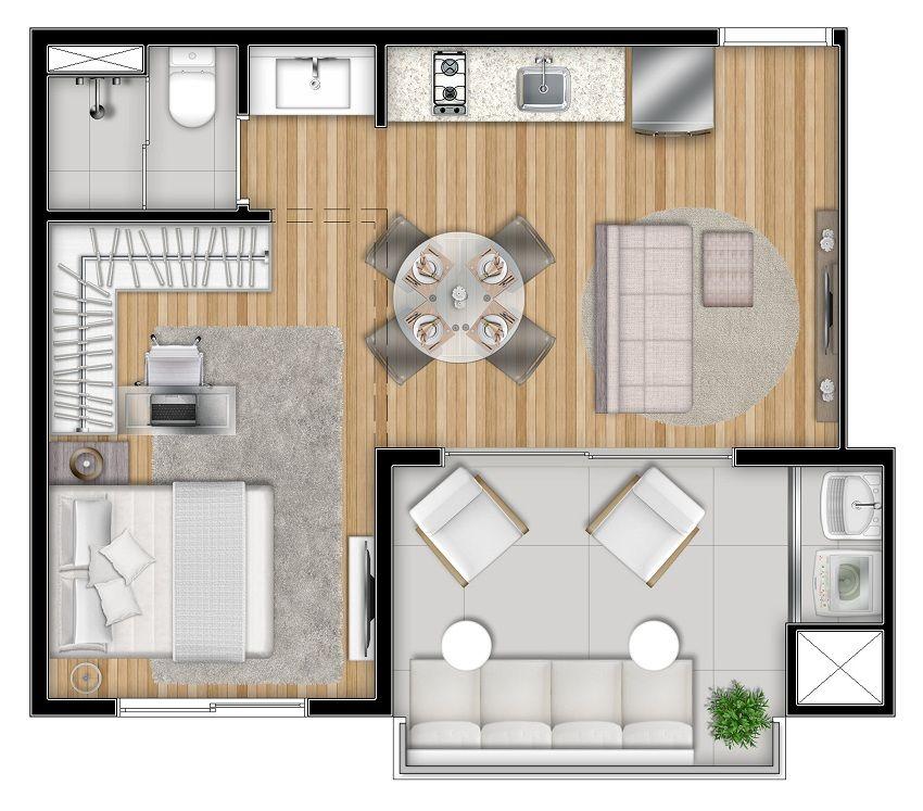 Vox vila ol mpia planta loft tipo 2 arquitetura - Apartamentos tipo loft ...