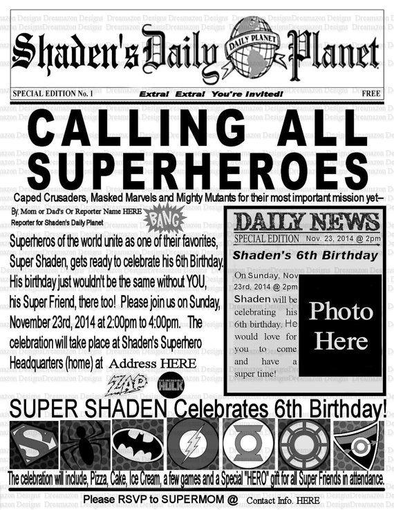 Super hero invitationsuperhero birthday invitation marvel super hero invitationsuperhero birthday invitation marvel birthday partyavengersnewspaper printable pronofoot35fo Choice Image