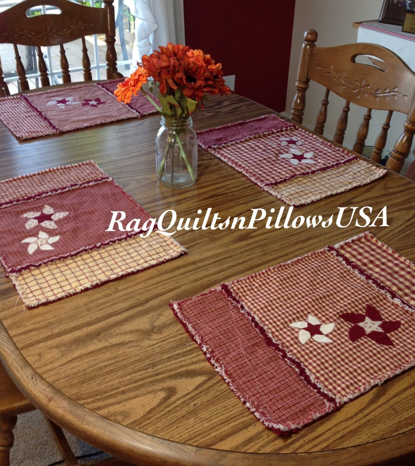 Red Homespun Placemats Set of 2 Primitive Table Runners Homemade