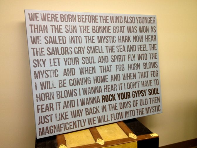Lyric Wall Art Canvas