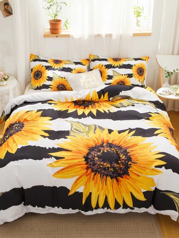 Sunflower & Stripe Pattern Sheet Set Without Filler