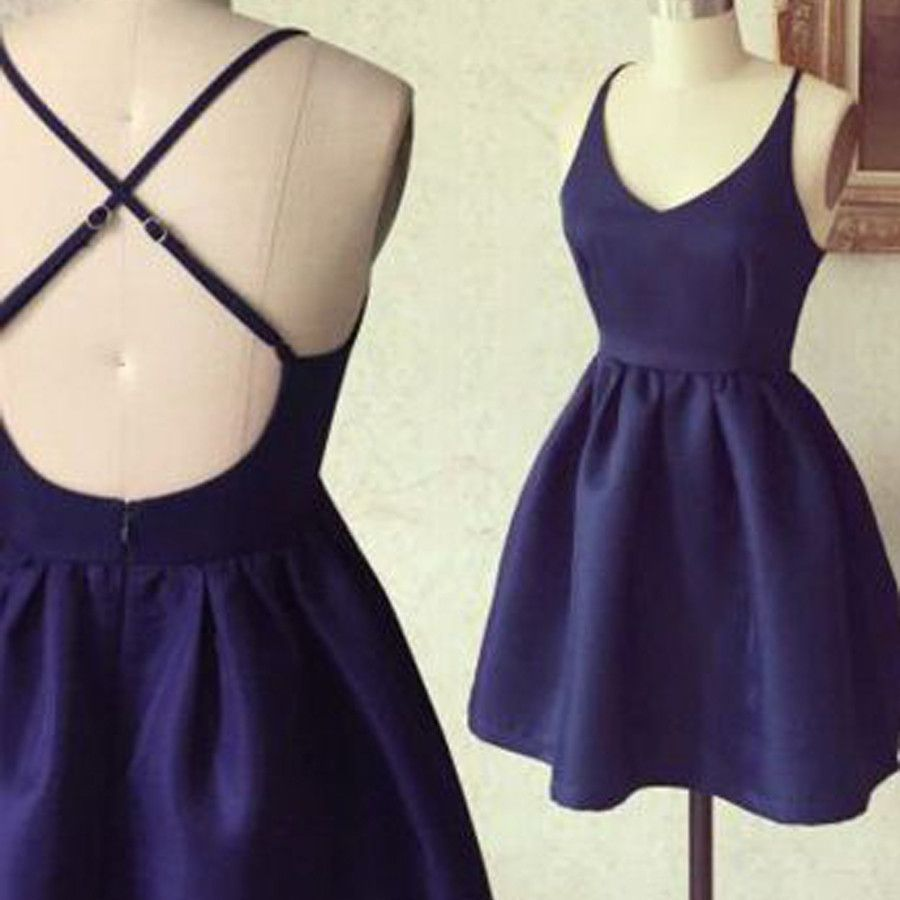 new lower prices famous brand timeless design Short cheap simple blue cross freshman homecoming prom gown ...