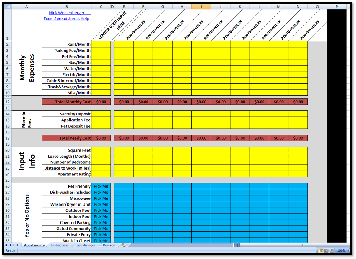 New Apartment Search Rating Spreadsheet Spreadsheet Spreadsheet Template Excel Spreadsheets