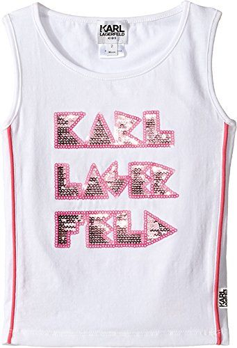 96befb7a9 Karl Lagerfeld Kids Baby Girls Tank Top w Contrast Piping Sequin Graphics  Toddler White Tank Top ** You can find out more details at the link of the  image.