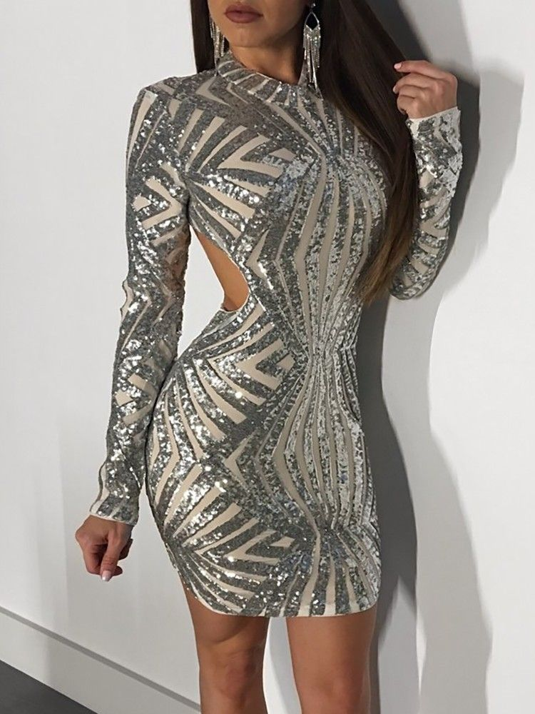 c50bbefa2852 【Chicme Black Friday Sales】Sparkly Sequined Open Back Bodycon Mini Dress