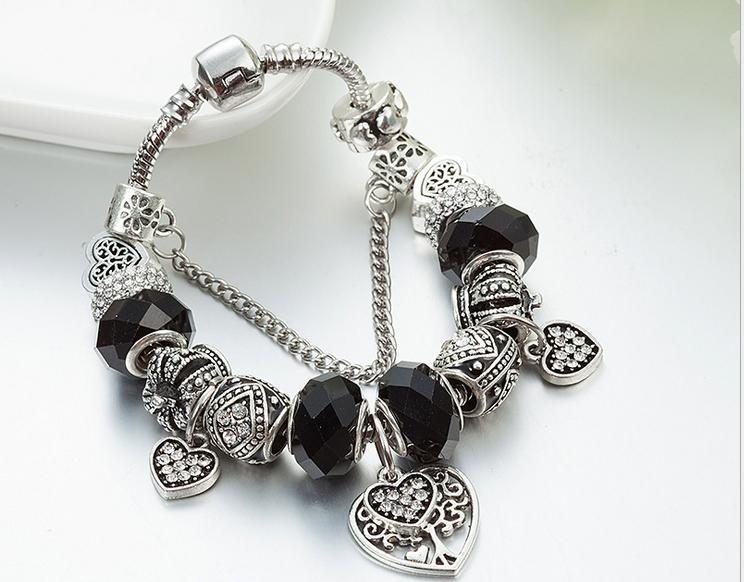 $15.5 black murano glass charm bracelet