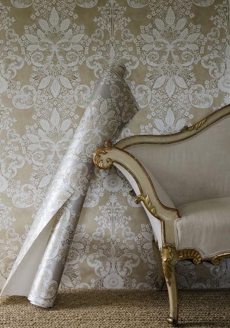 Rococo Metallic Wallpaper A wide width damask wallpaper