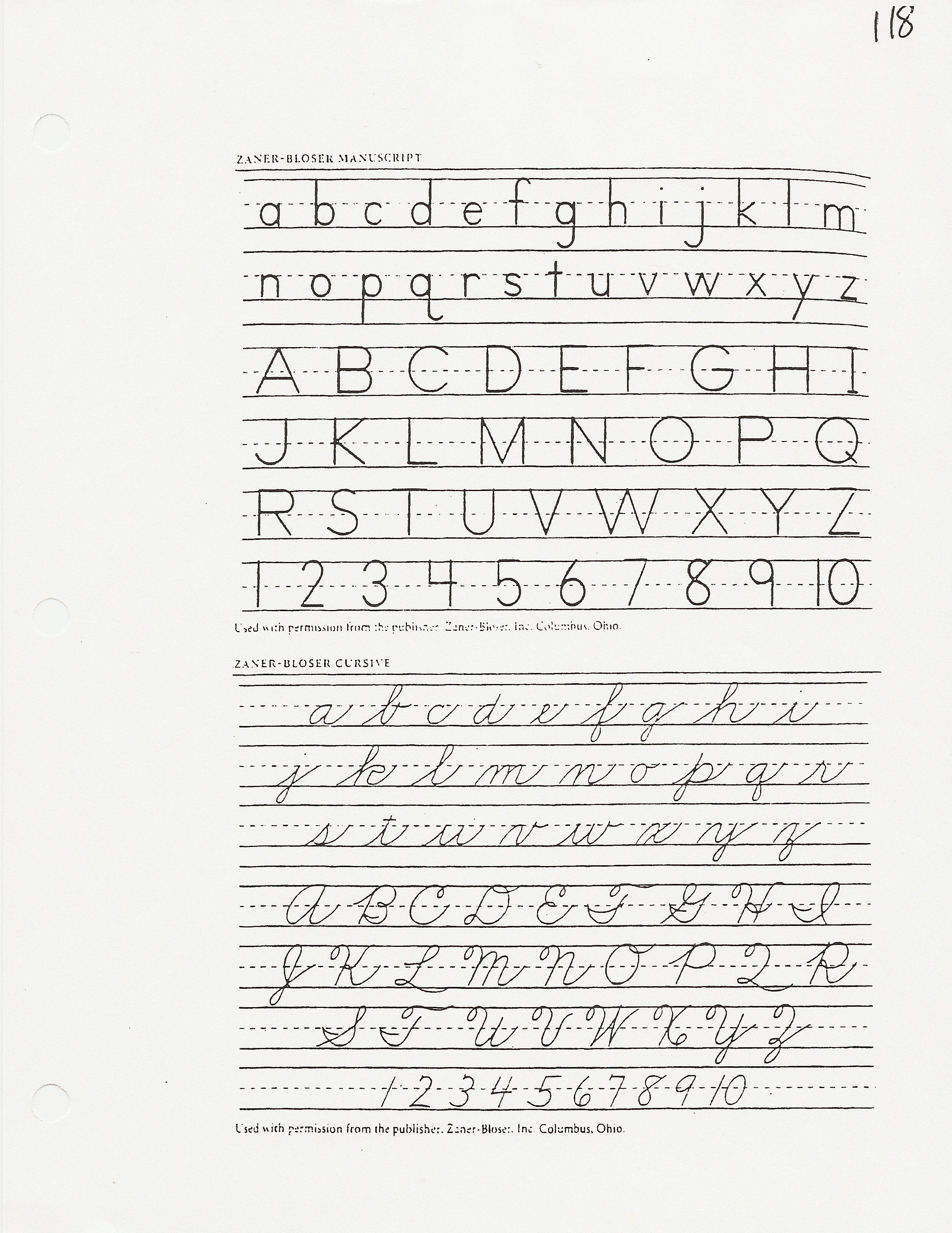 Zaner Bloser Handwriting