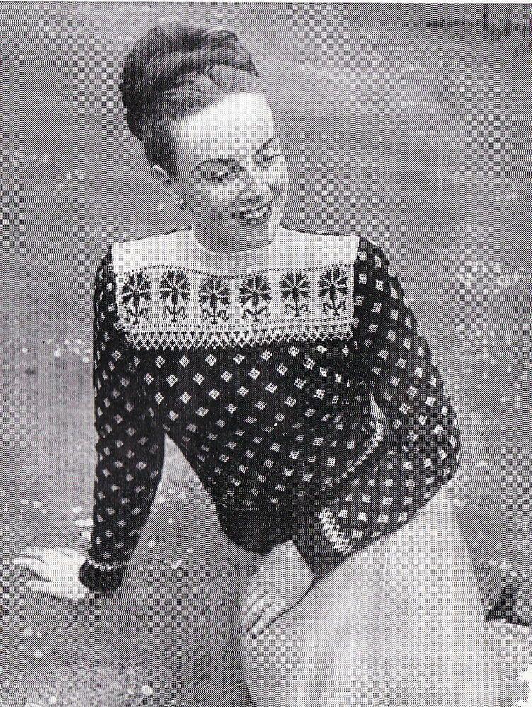 Vintage Knitting Pattern Instructions for Ladies fair Isle Jumper ...