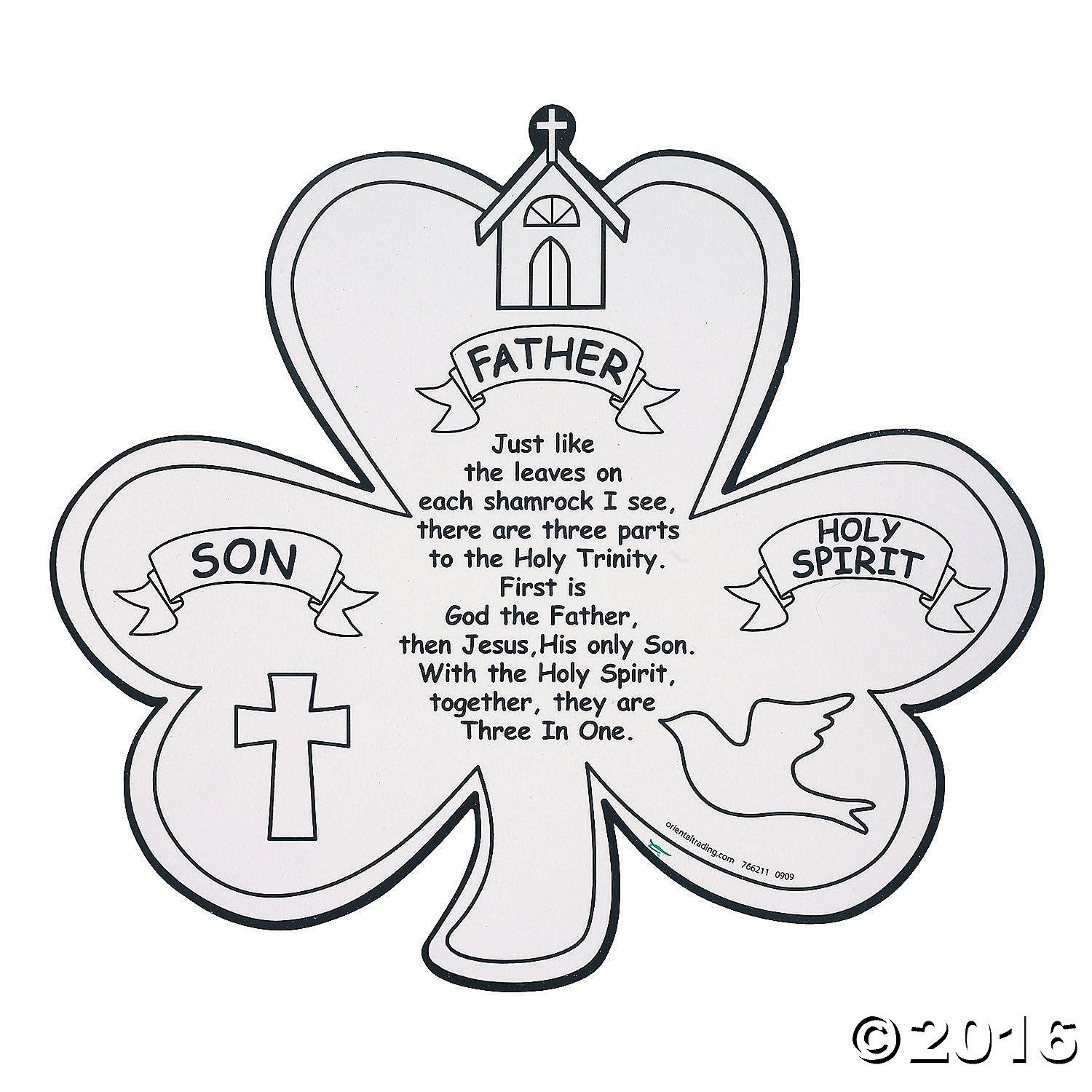 Color your own shamrock trinity cutouts teach the mystery of the color your own shamrock trinity cutouts teach the mystery of the holy trinity with this buycottarizona Image collections