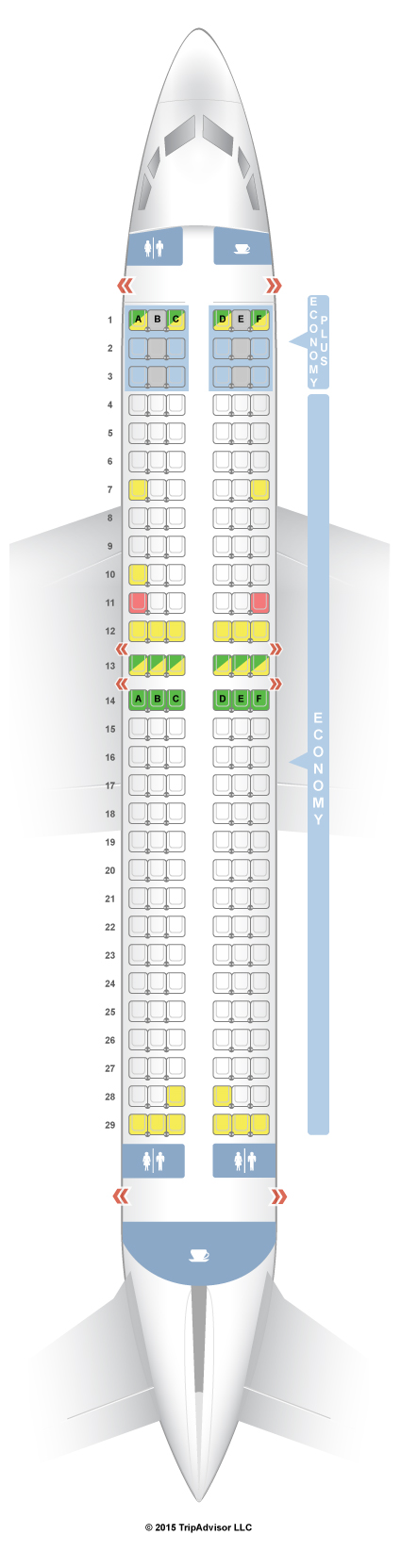 SeatGuru Seat Map WestJet Boeing 737-800 (738) | Vacation