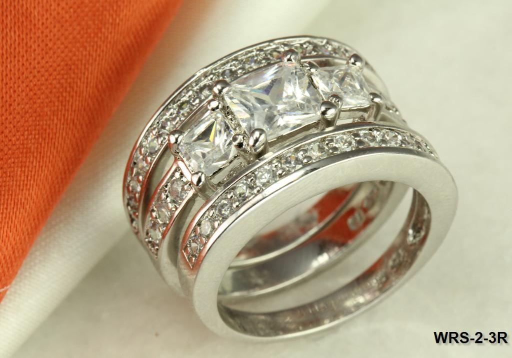 STERLING SILVER PRINCESS CZ VTG STYLE BRIDAL ENGAGEMENT WEDDING 3 RING SET SZ5-8
