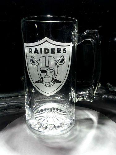 132273c7ff42 Etched OAKLAND RAIDERS Beer Mug - RAIDER NATION