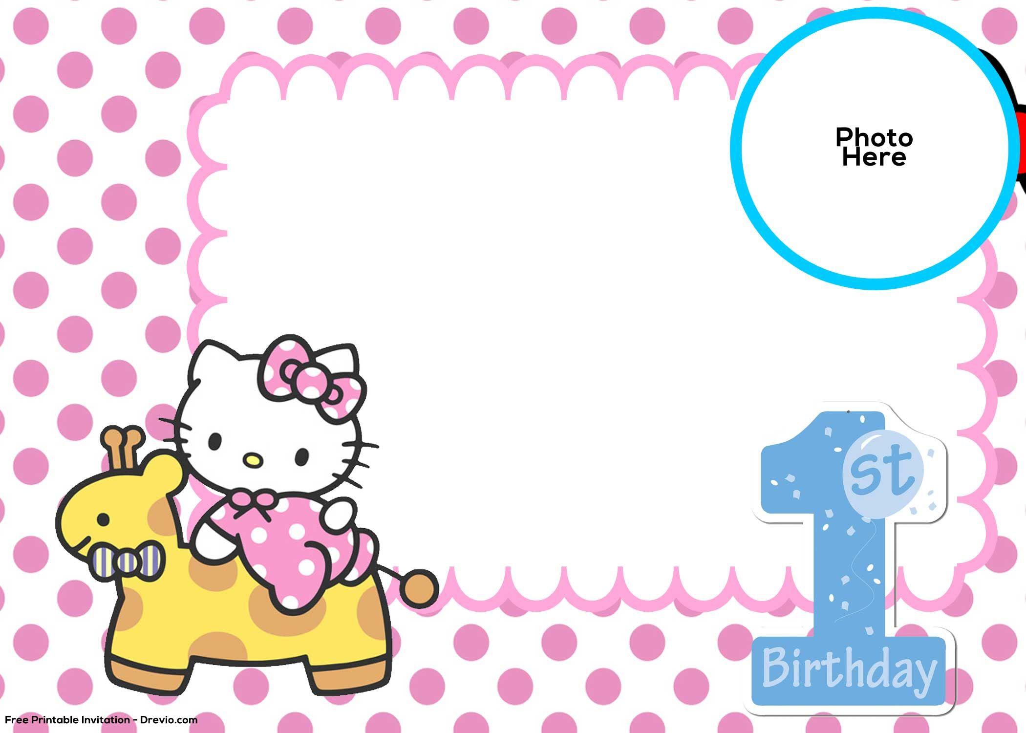 Free Hello Kitty 1st Birthday Invitation Template Ideas