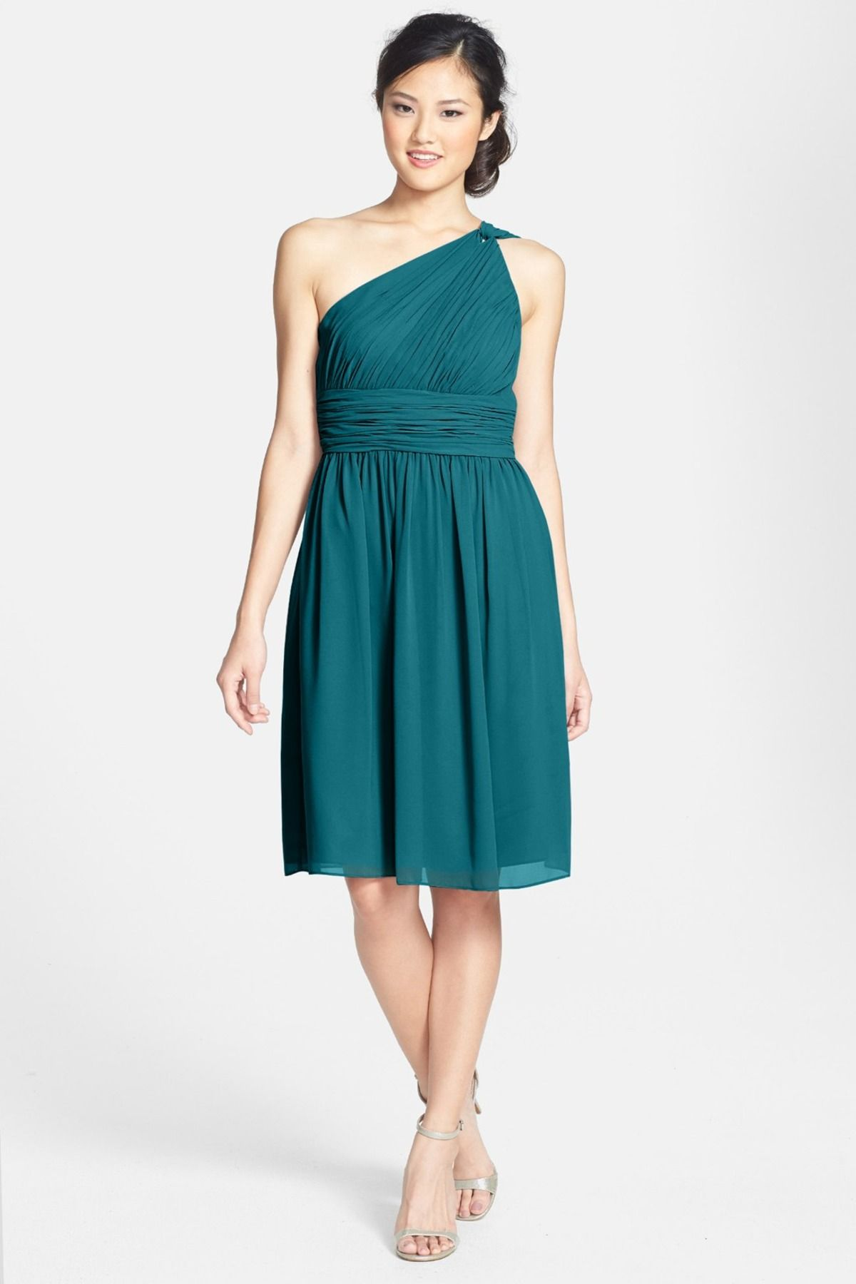 Rhea One-Shoulder Chiffon Dress (Plus Size) | Donna morgan, Chiffon ...