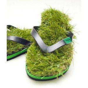 Gras Flip Flops - Größe 40 - 44 (FlipFlops Art by PlanetGadget)