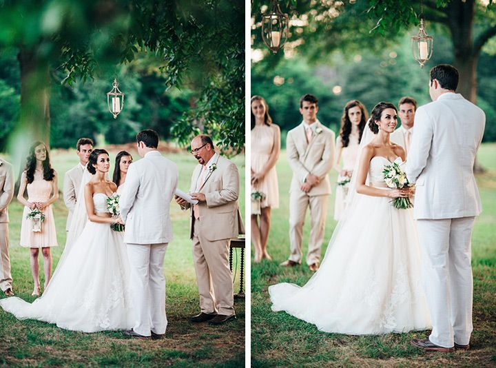 lovely wedding cereomy under a tree - love the hanging lanterns!  ~  we ❤ this! moncheribridals.com