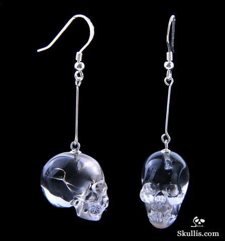 Quartz Rock Crystal Skull Earrings