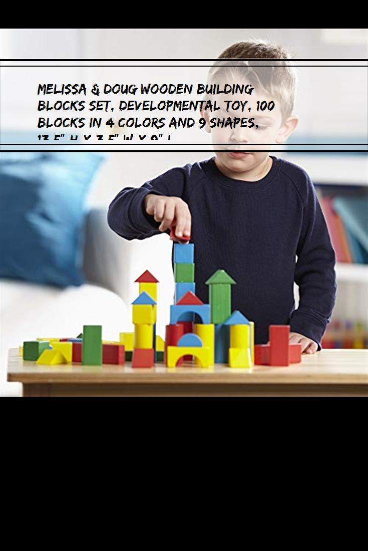 Melissa Doug Wooden Building Blocks Set Developmental Toy 100