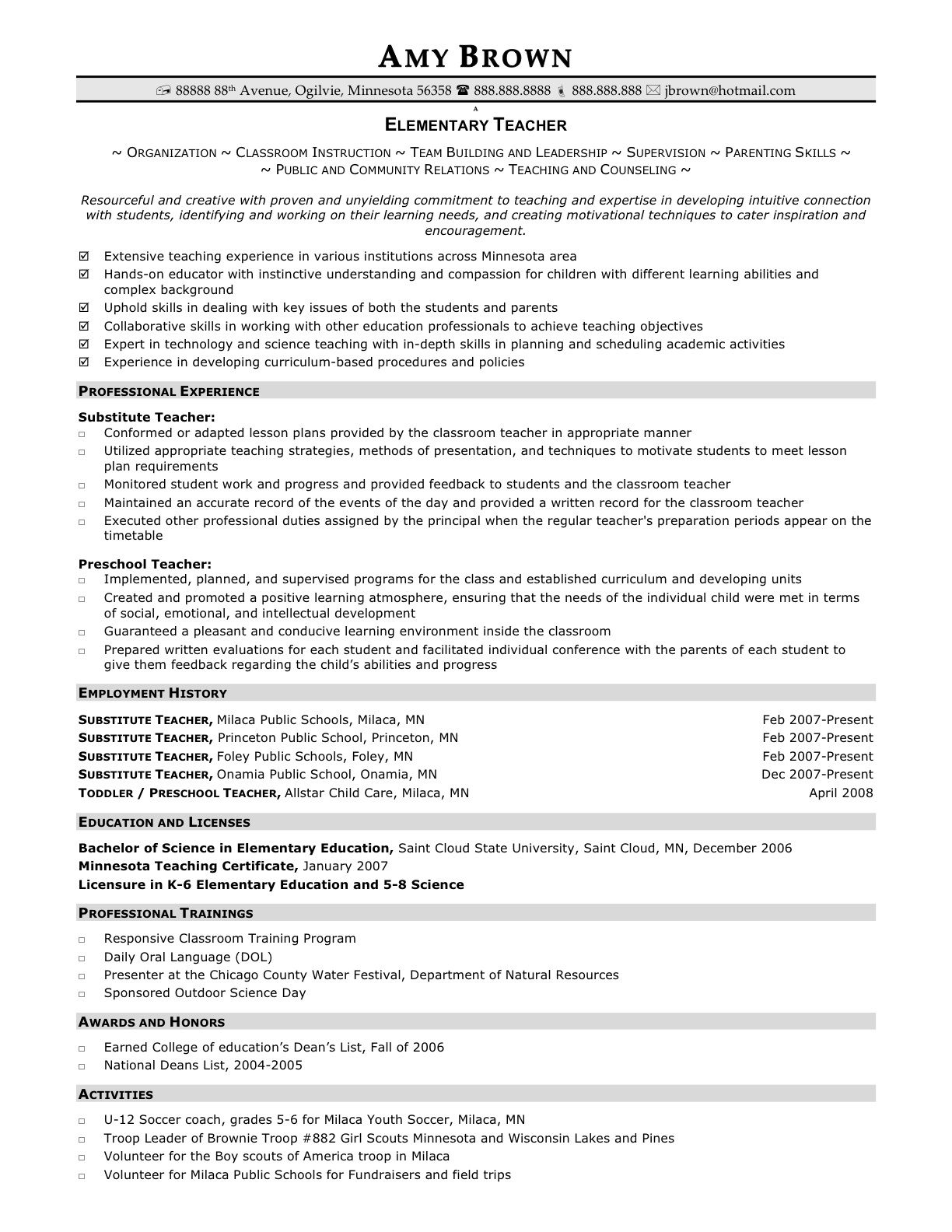 Resume Education Example Elementary Teacher Resume Examples  Httpwwwresumecareer