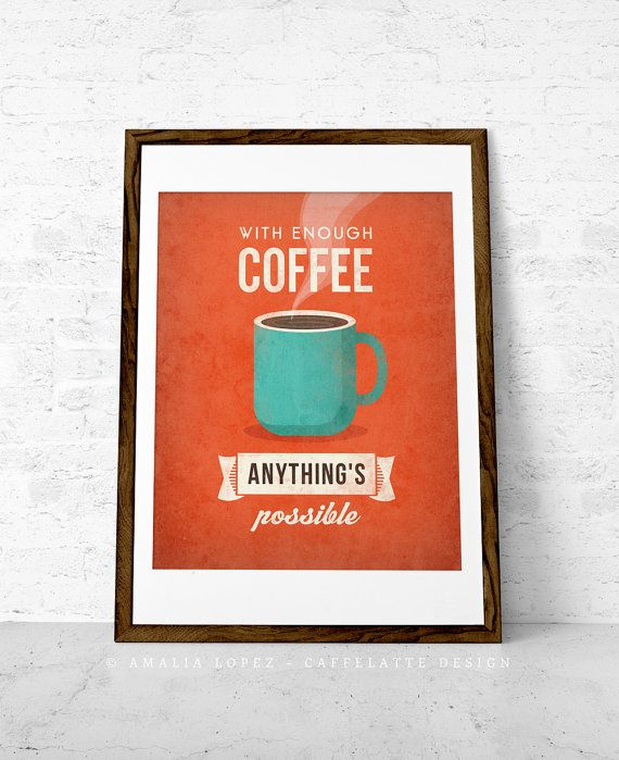 With Enough Coffee Coffee Print Retro Print Coffee Poster Coffee