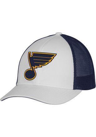 2cc02ee9230 Adidas St Louis Blues Mens White Meshback Trucker Adjustable Hat ...