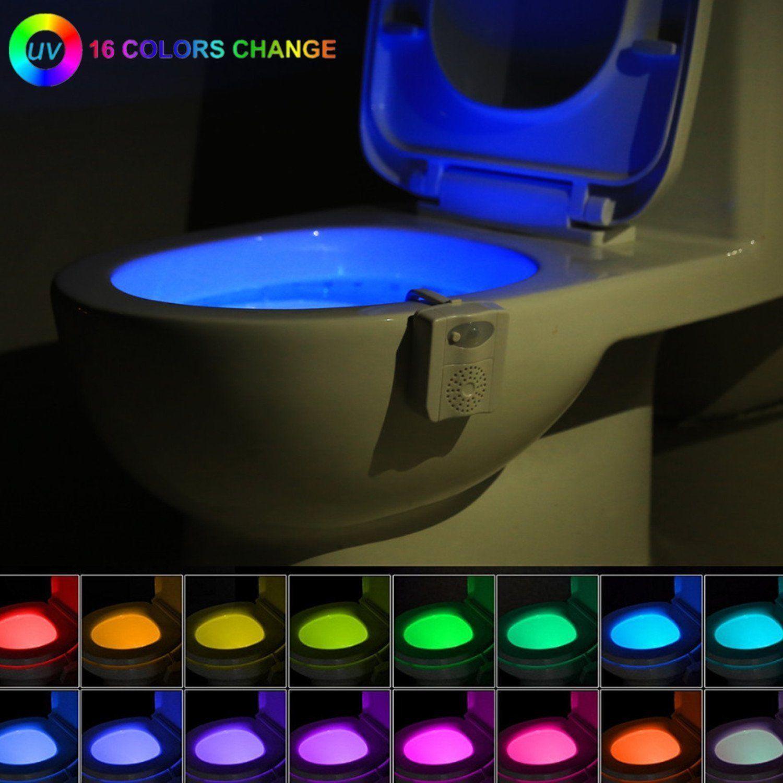 16 Colors LED UV  2 Aromatherapy Motion Sensor Night Light Toilet Bowl Light