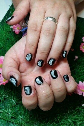Moon Phase Nail Art On Natural Nails Kawaiiklaws Kawaii