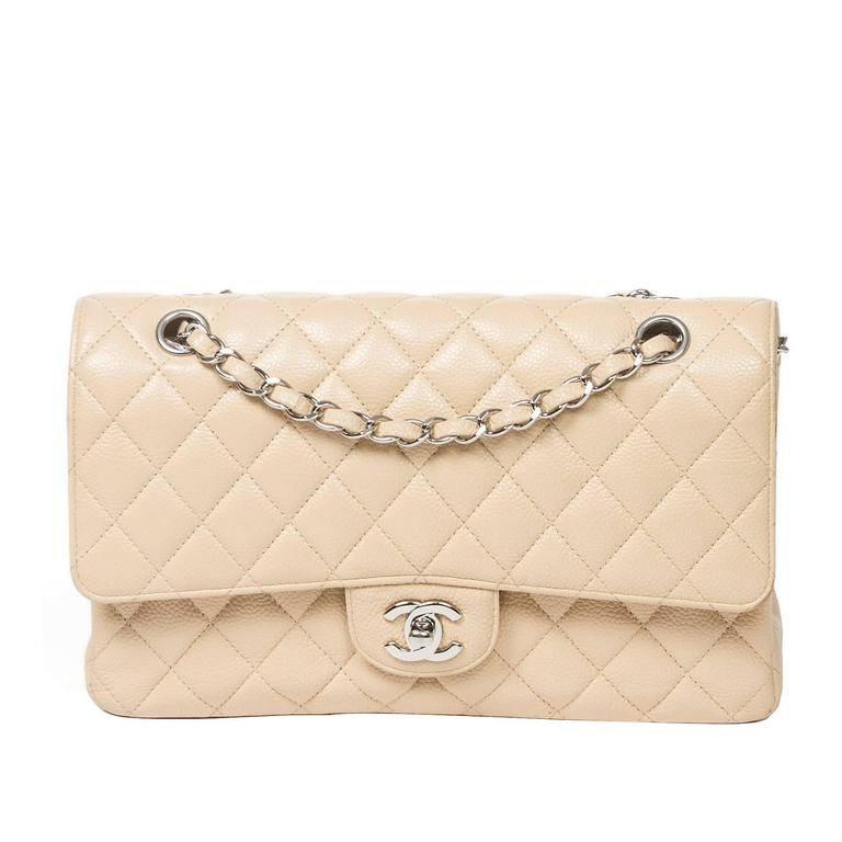 b9bc833d086501 Chanel Classic Quilted Caviar Double Flap Jumbo Bag in Beige #chanel |  Fabulous Handbags | Beige chanel bag, Chanel bag classic, Bags
