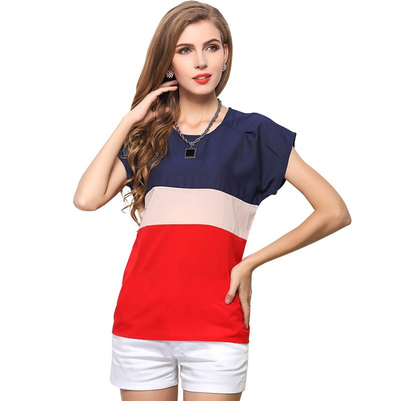 >> Click to Buy << 2017 European and American style short sleeve chiffon shirt contrast color small fresh spell women blouses factory direct 1215 #Affiliate