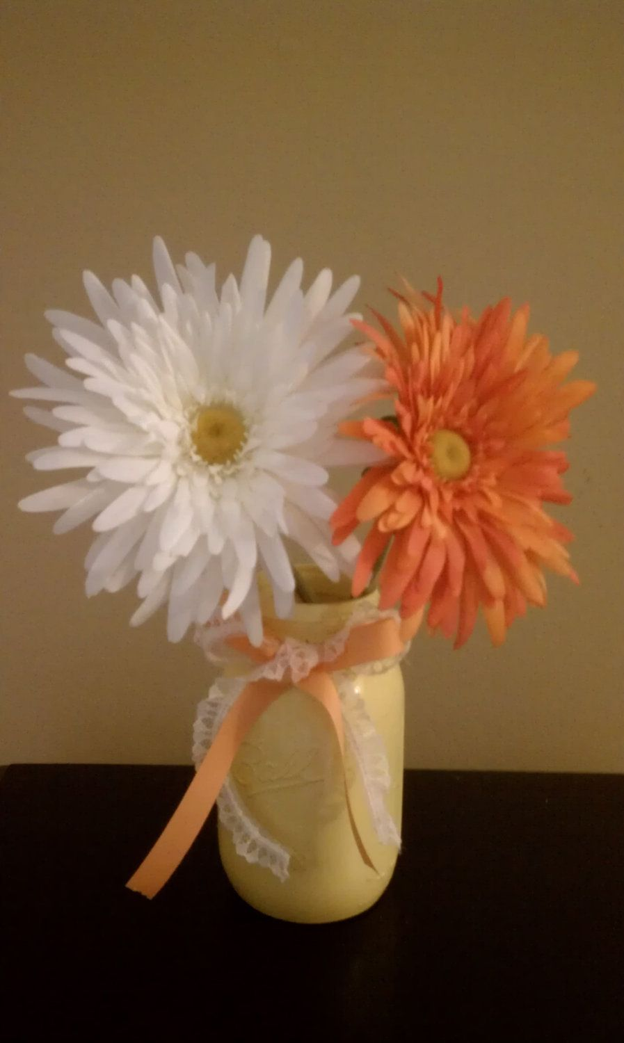 Wedding anniversary decoration ideas at home  Mason Jar centerpiece idea just need in a different color