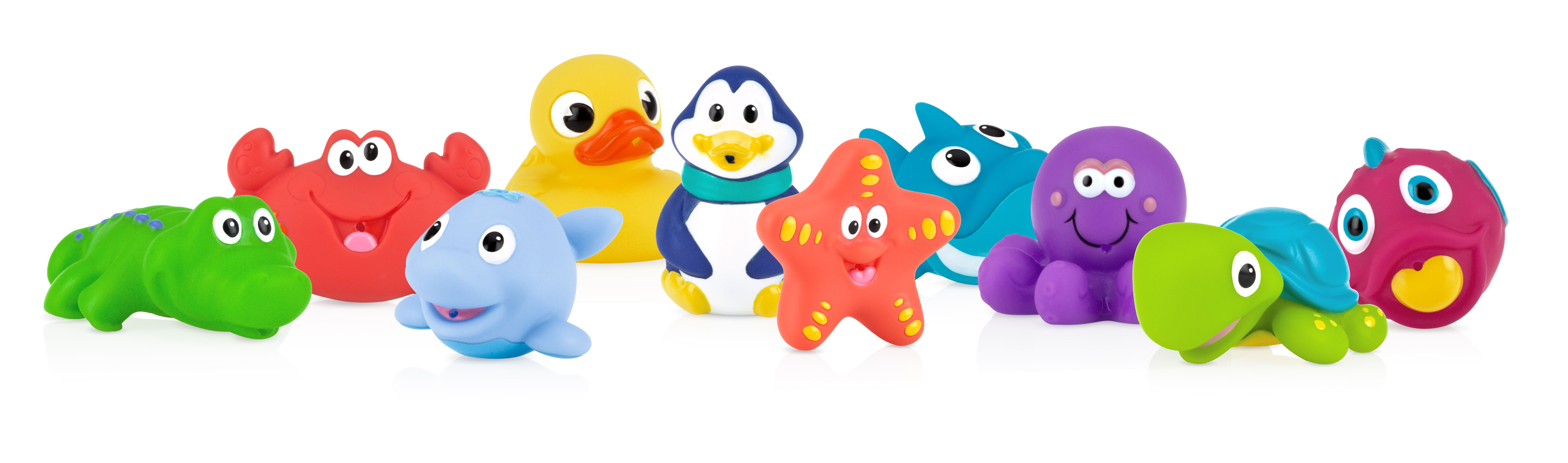 Assorted Characters Nuby 10-Pack Little Squirts Fun Bath Toys