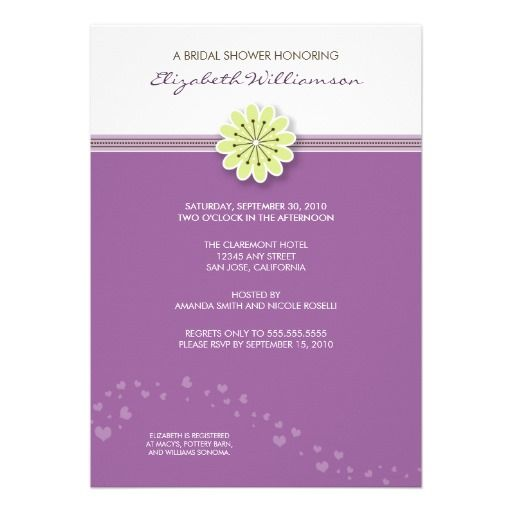 Simple Flower Bridal Shower Invitation (lavender) #purplewedding #weddings #bridalshowerinvitations