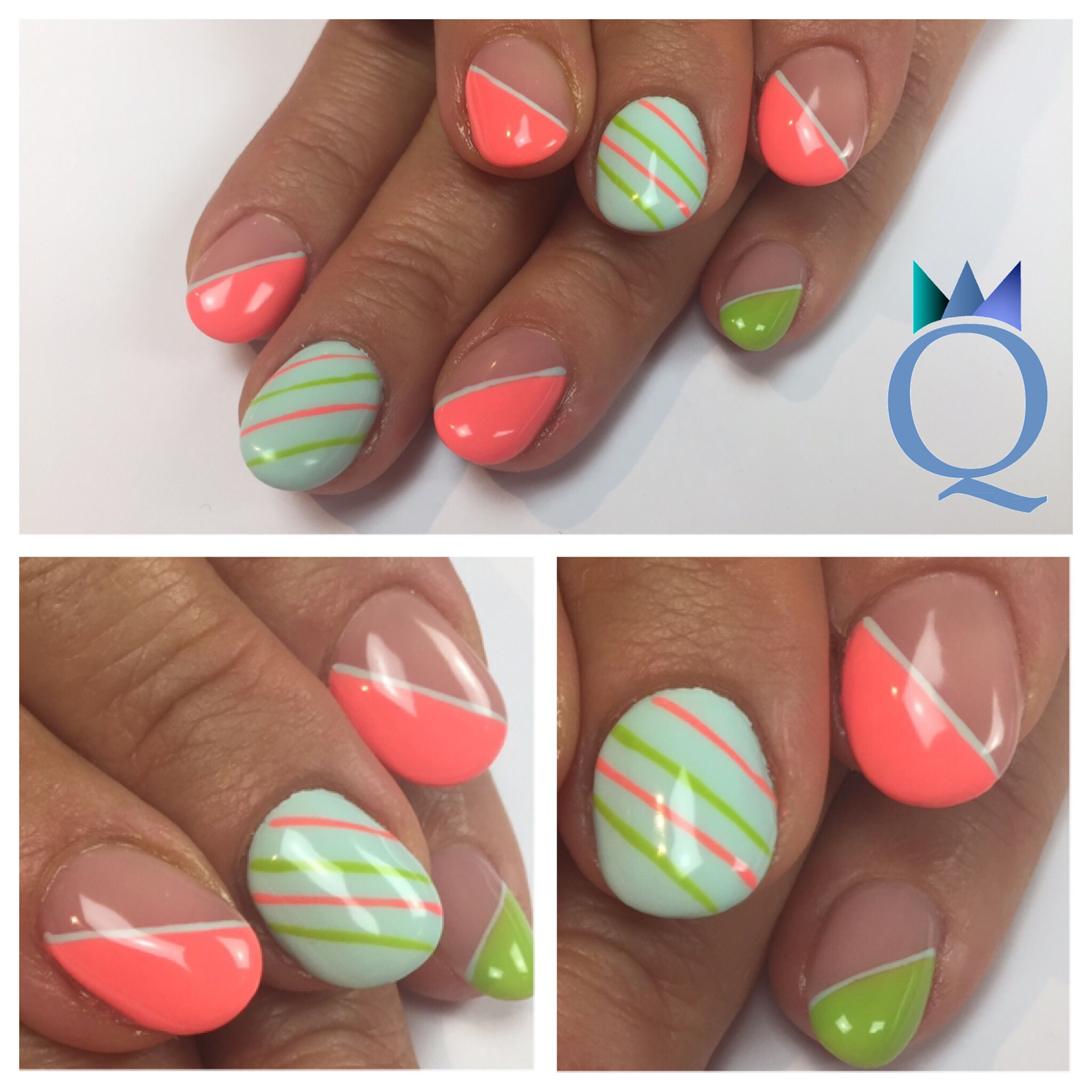 Shortnails Gelnails Nails Pinkcoral Lightblue Green Akyado