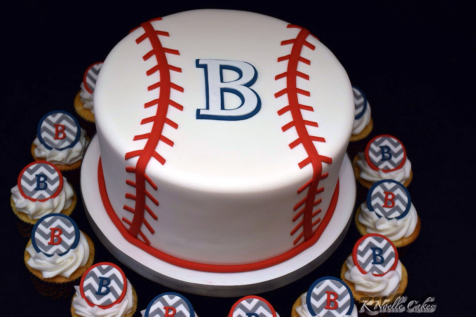 Baseball Baby Shower Cake With Cupcakes By K Noelle Cakes Cakes By