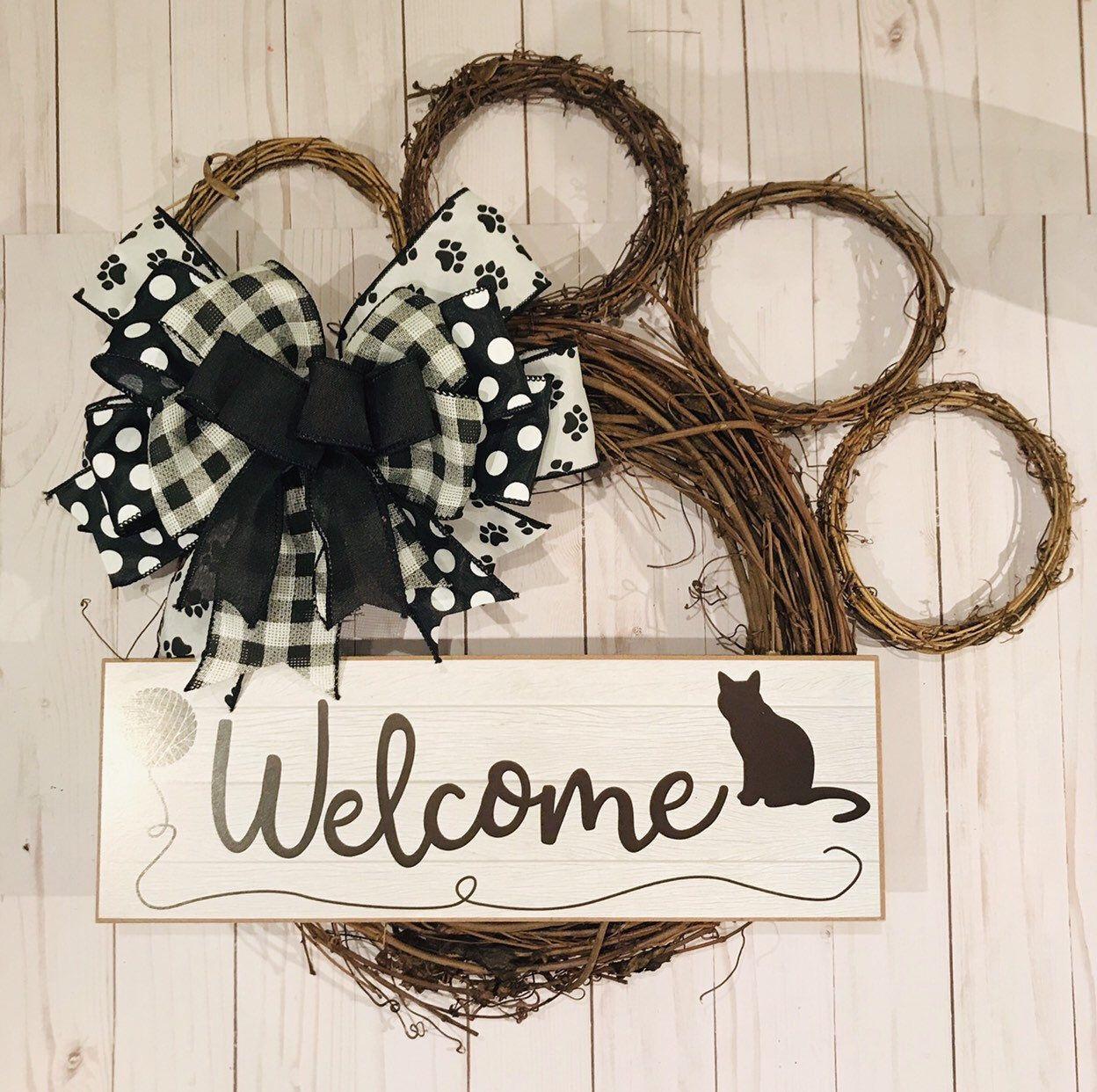 Pet rescue paw Print wreath paw ribbon dog cat puppy