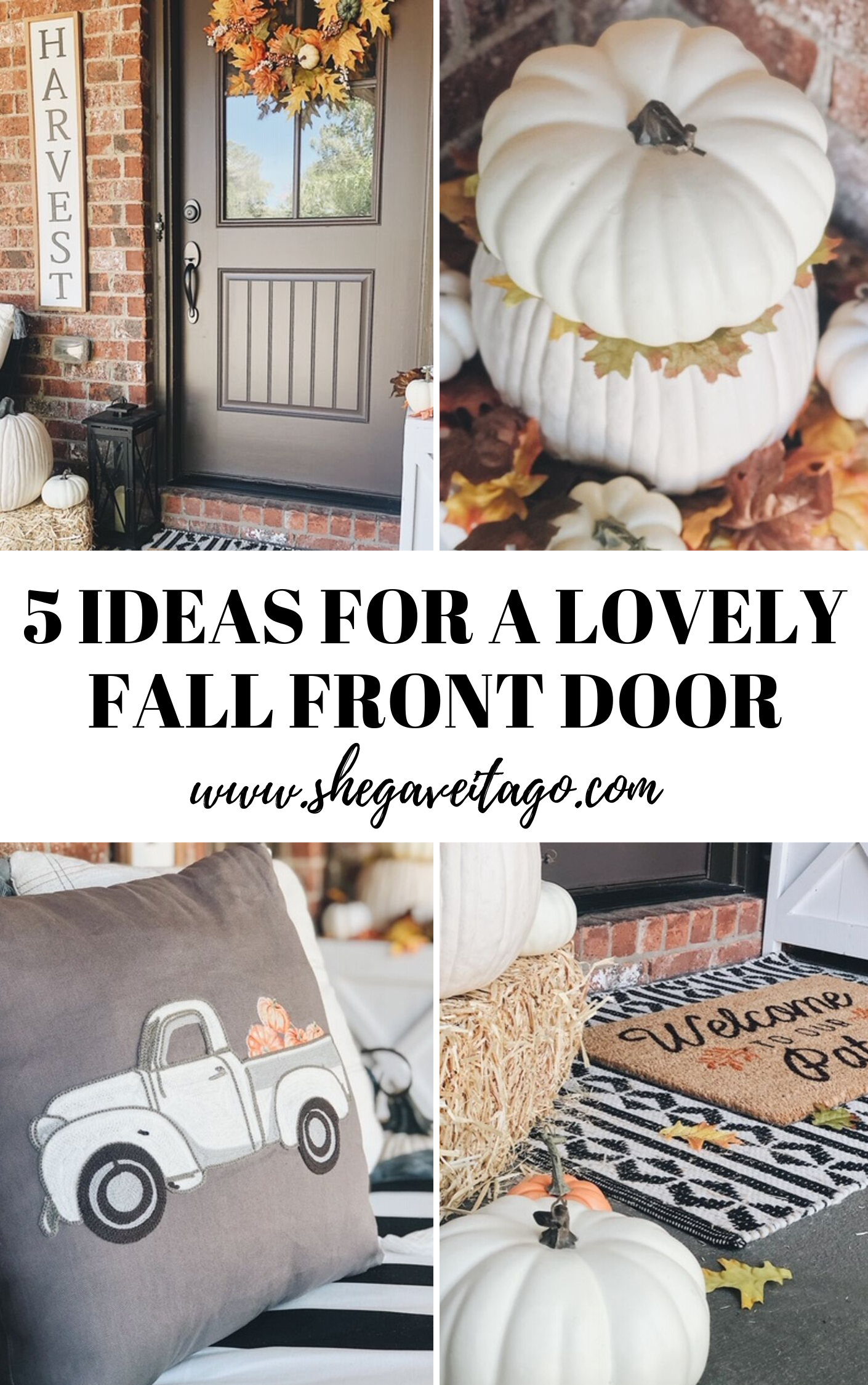 Fall front door ideas | Decorating for fall on your front porch with pumpkins and florals  #fall #falldecor #frontporch #handmadewithjoann #frontdoor#homesweethome